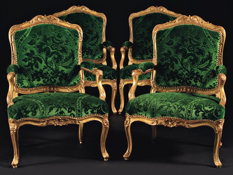 Fauteuils Rococo velours vert
