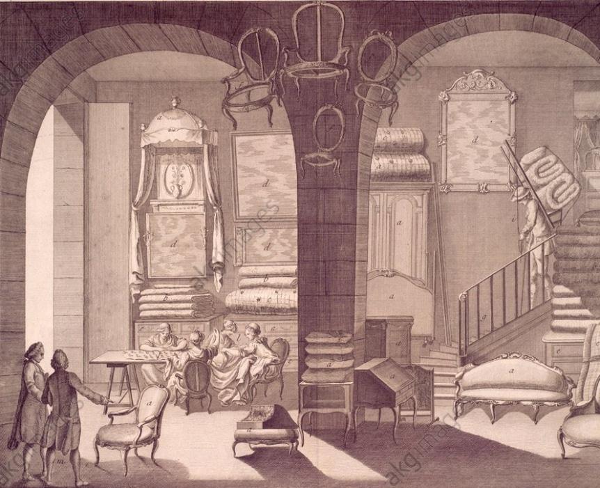 Exemple Tapissier, intérieur d'une boutique et differens ouvrages