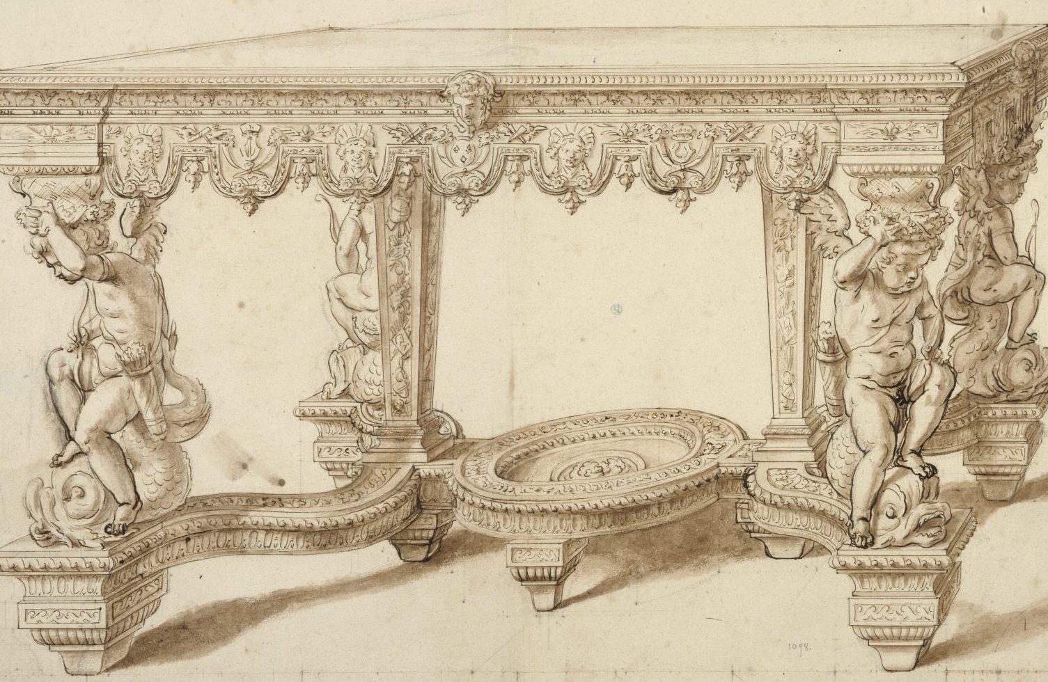 Table aux amours assis sur des dauphins », dessin en vue de la fonte par Claude Ballin,