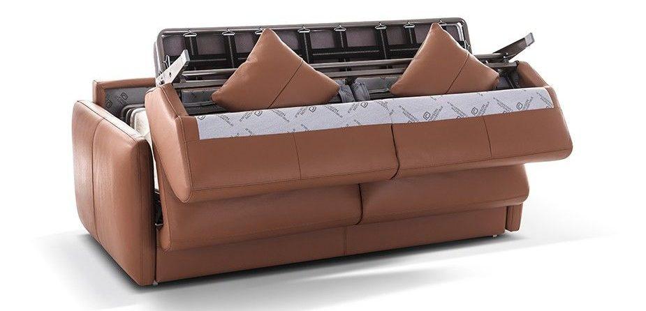 canpé lit en cuir marron