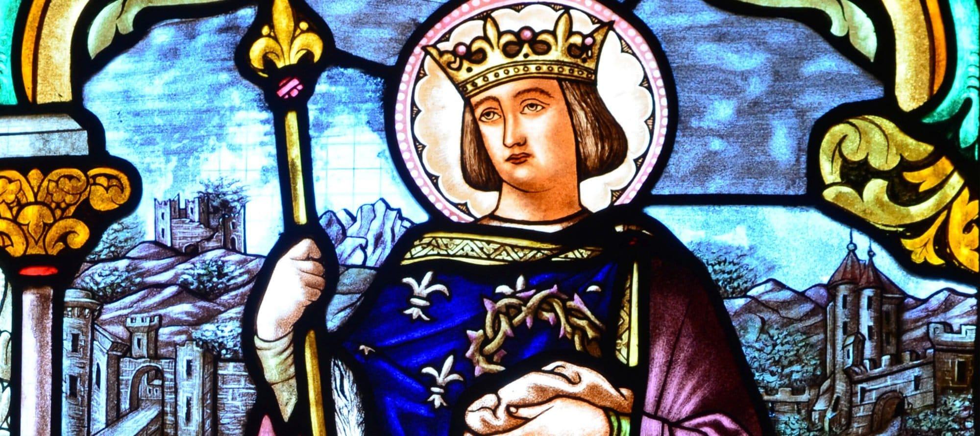 Vitrail représentant Saint Louis à l'église d'Izernore